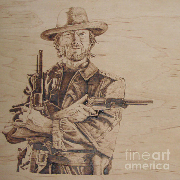 Pyrography Pyrography - Clint Eastwood by Chris Wulff