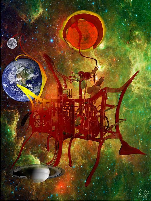 Clock Digital Art - Clock Of Universe by Helmut Rottler