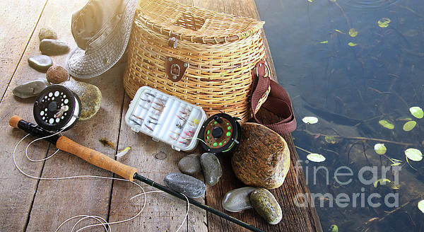 Activity Photograph - Close-up Of Fishing Equipment And Hat  by Sandra Cunningham