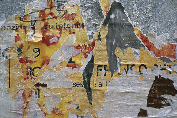 Outdoors Photograph - Close-up Of Torn Posters On A Wall by Todd Gipstein