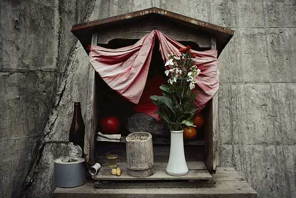 Asia Photograph - Close View Of A Shrine With Oferings by Sam Abell