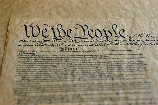 The Constitution Photograph - Close View Of The Us Constitution by Kenneth Garrett