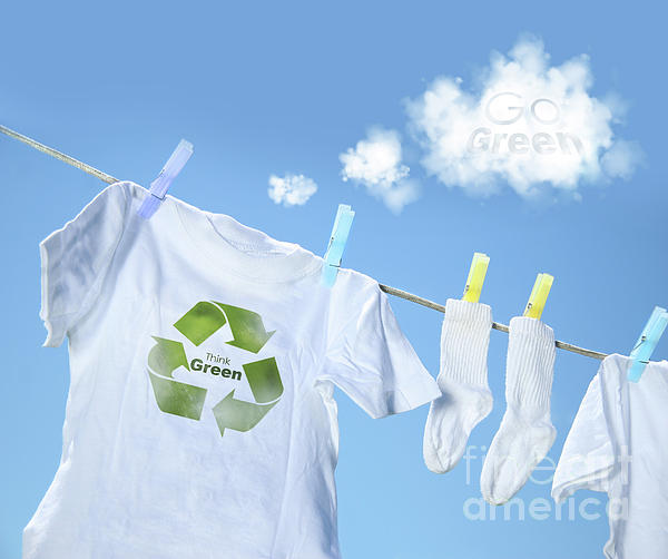 White Photograph - Clothes Drying On Clothesline With Go Green Sign  by Sandra Cunningham