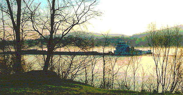 Ohio River Photograph - Coal Barge In Ohio River Mist by Padre Art