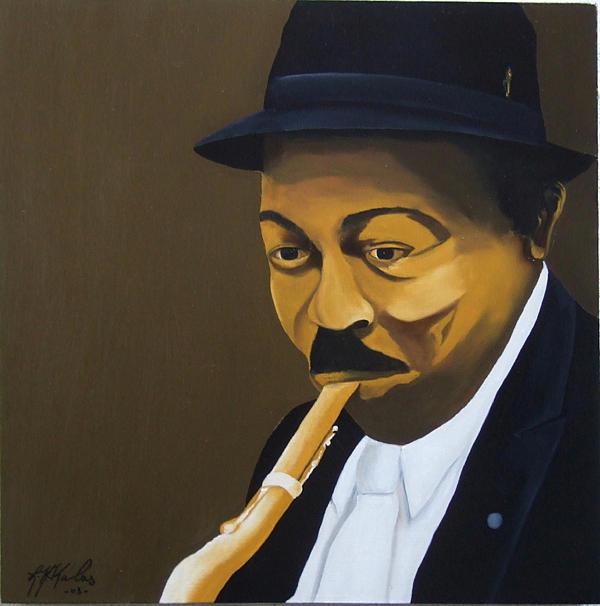 Jazz Painting - Colman Hawkins  by Leon Nicholas Kalas