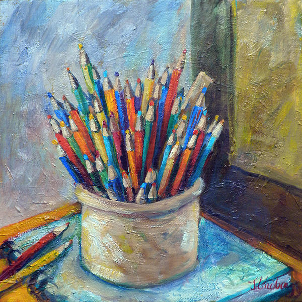 Colored Pencils Painting - Colored Pencils In Butter Crock by Jean Groberg