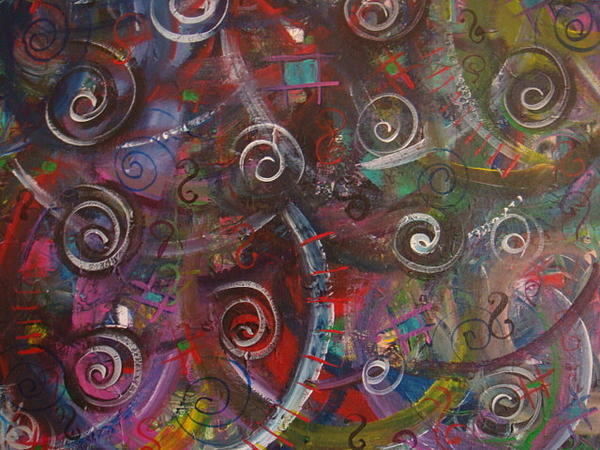 Abstract Painting - Colorful Confusion by Catherine Nichols