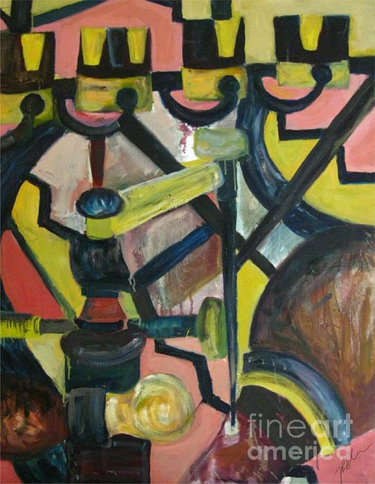 Boiler Room Painting - Combustion by Paula Cork