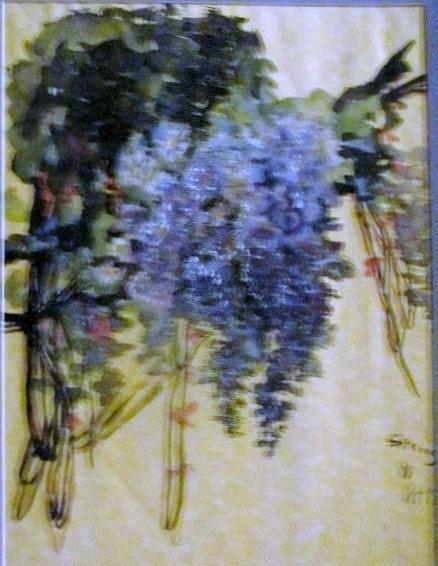 Blue Drawing - Common Lilacs by Pat McAuley Ramsden