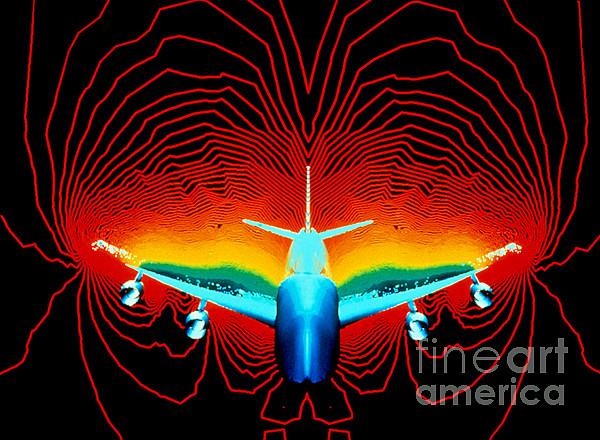 Horizontal Photograph - Computer Simulation Of Airplane Flight by Nasa