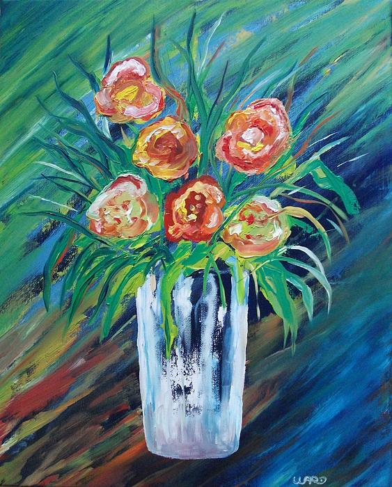 Abstract Painting - Cool Floral Abstract by George Bryan Ward