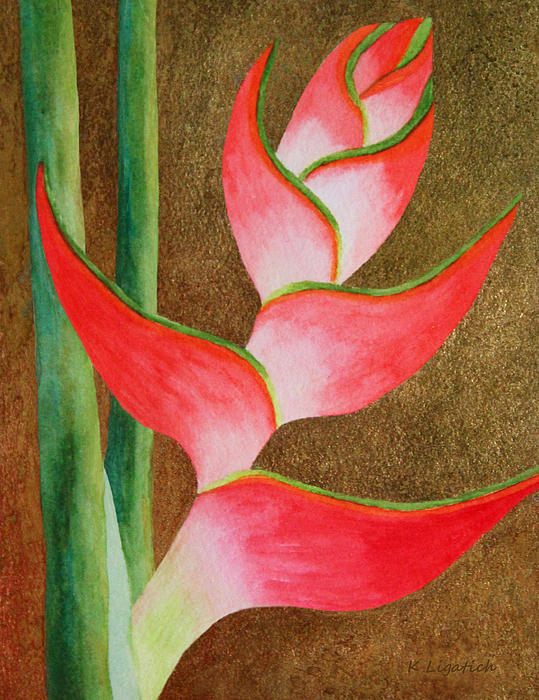 Floral Painting - Coral Lobster Claw Heliconia With Gold Leaf by Kerri Ligatich