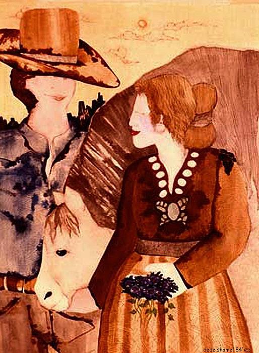 Horse Painting - Cowboy Love by Dede Shamel Davalos
