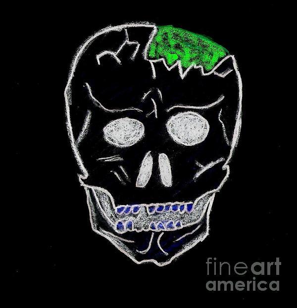 Jordan Allen Artist Drawing - Cracked Skull Black Background by Jeannie Atwater Jordan Allen