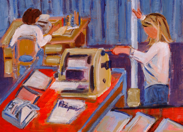 Desk Painting - Cranking Out Reams Of Radical by Elzbieta Zemaitis