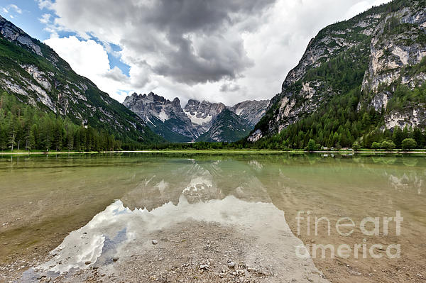 Dolomites Photograph - Cristallo Mountains Reflection Dolomites Northern Italy by Charles Lupica