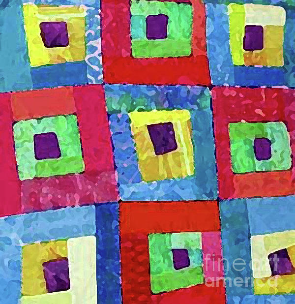 Quilt Photograph - Crooked Color Boxes by Marilyn West