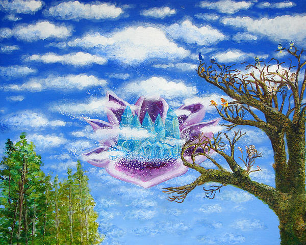 Blue Painting - Crystal Hermitage Castle In The Clouds by Ashleigh Dyan Bayer
