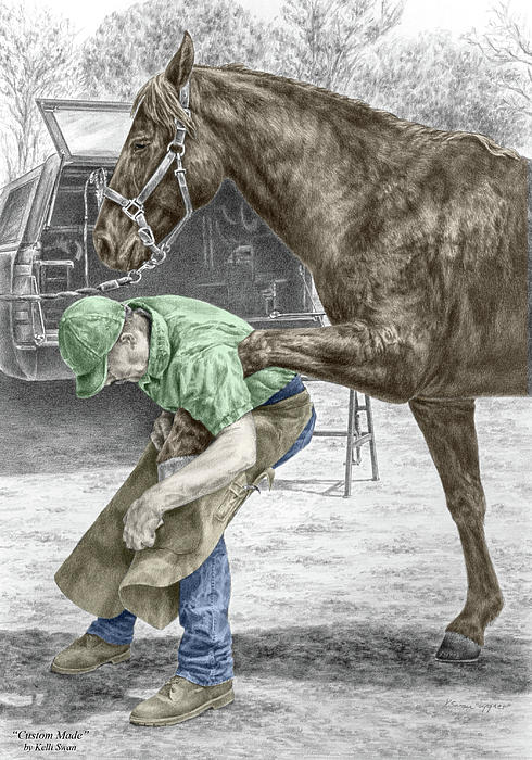 custom made - farrier and horse print color tinted drawing by ... - Horse Pictures Print Color