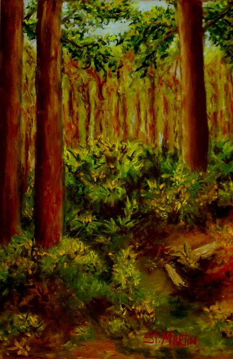 Pine Grove Drawing - Deep In The Pines by Annie St Martin