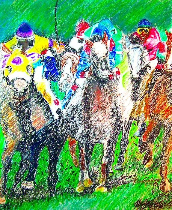 Oil Pastel Painting - Derby by Rom Galicia