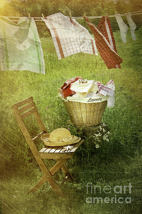 Basket Photograph - Distressed Photo Of Wash Day  by Sandra Cunningham