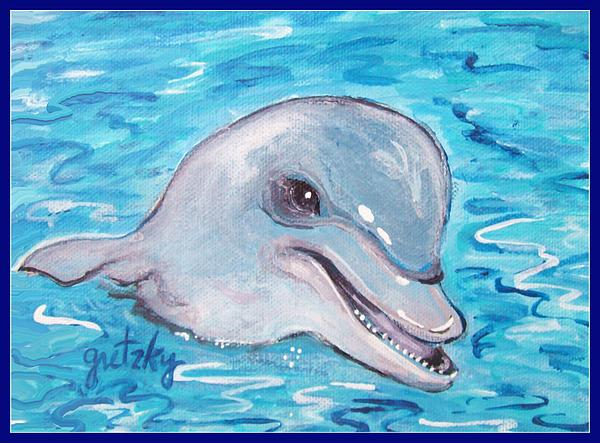 Dolphin Painting - Dolphin 2 by Paintings by Gretzky
