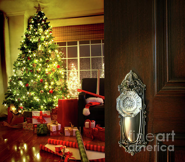 Background Photograph - Door Opening Into A Christmas Living Room by Sandra Cunningham