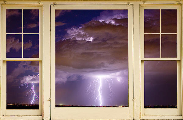Windows Photograph - Double Lightning Strike Picture Window by James BO  Insogna