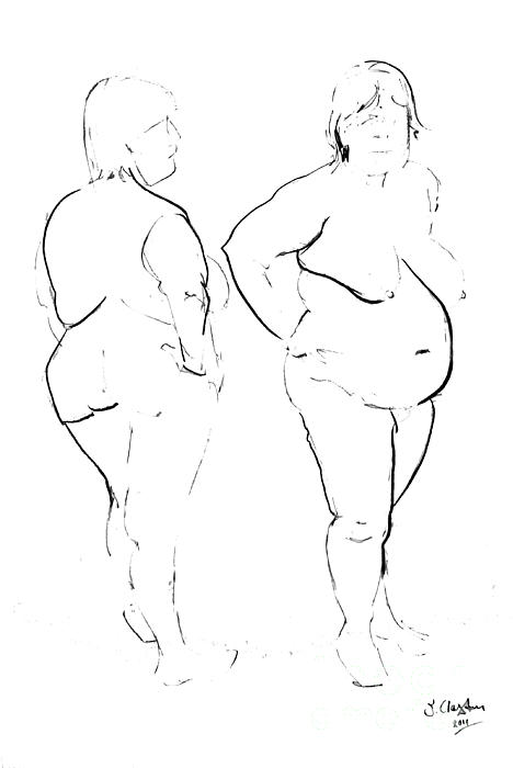 Nudes Drawing - Double Standing Female Nude by Joanne Claxton