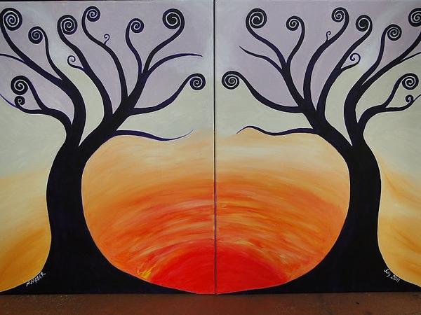Beautiful Original Naif Set Of 2 Paintings Of Trees Sunset Painting - Double Trees by Monica Moser