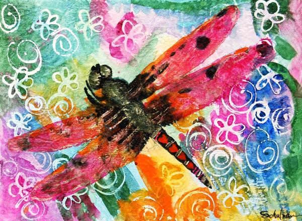 Orange Painting - Dragonfly Fairy II by Miriam  Schulman
