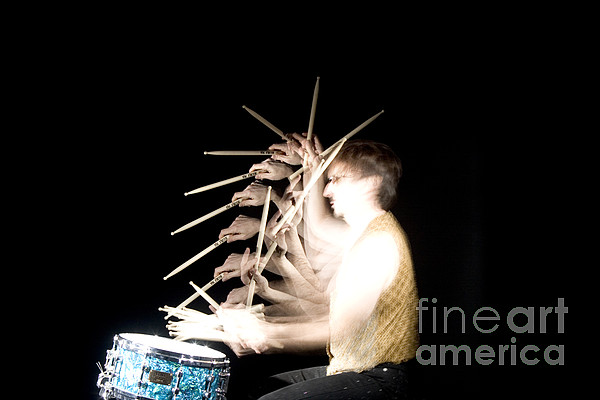 Stroboscopic Photograph - Drummer by Ted Kinsman