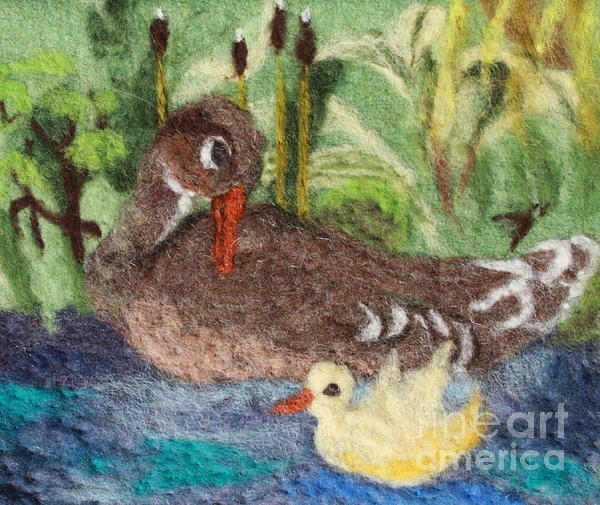 Duck Tapestry - Textile - Duck And Duckling by Nicole Besack