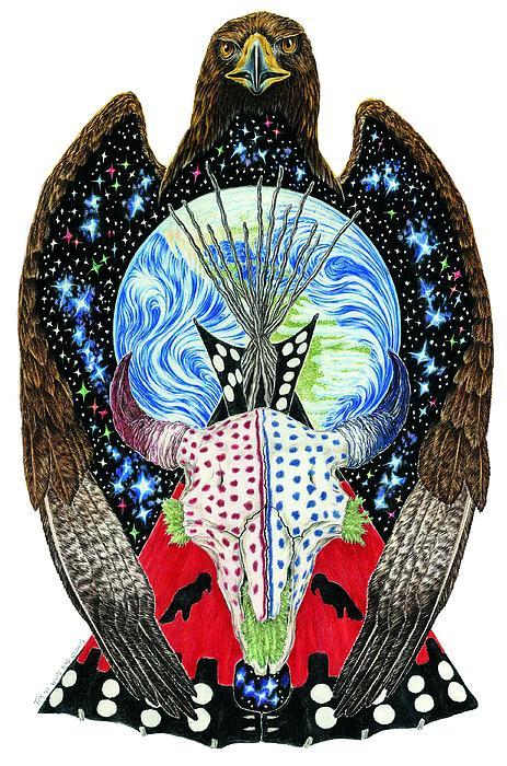 Sun Dance Drawing - Eagle Tipi by Tim McCarthy