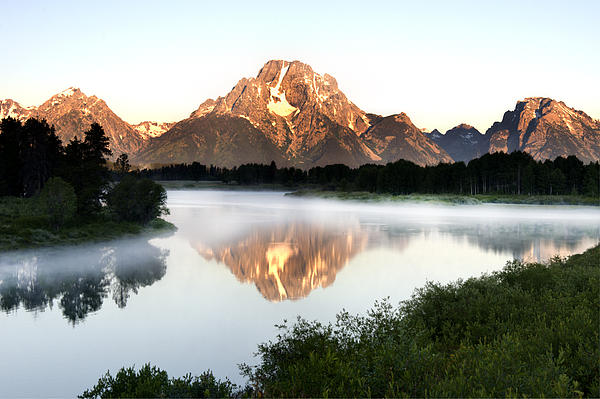 Oxbow Photograph - Early Morning Fog Oxbow Bend by Paul Cannon