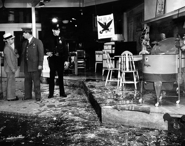 History Photograph - Earthquake Damages A Store In The Heart by Everett