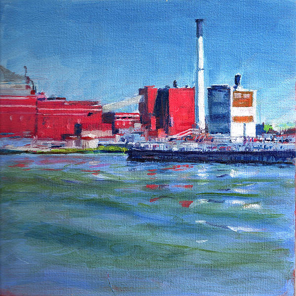 Landscape Painting - East River Power Plant by Peter Salwen