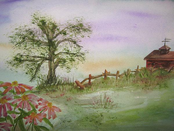 Echinacea Painting - Echinacea And Crooked Fence by Ellen Levinson