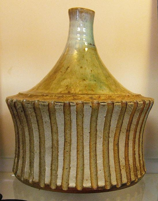 Wood Fired Ceramic Art - Elemental Pottery Bottle by Friedericks