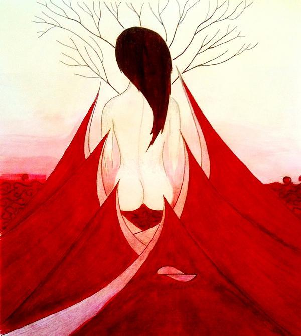 Enchantress Painting - Enchantress Red by Fariz Kovalchuk
