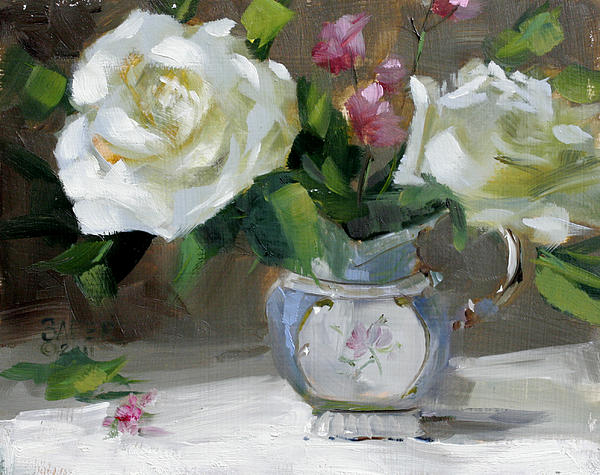 Pear Still Life Painting - English Tea Rose by Chris  Saper