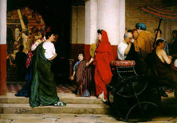 Entrance Painting - Entrance To A Roman Theatre by Sir Lawrence Alma-Tadema