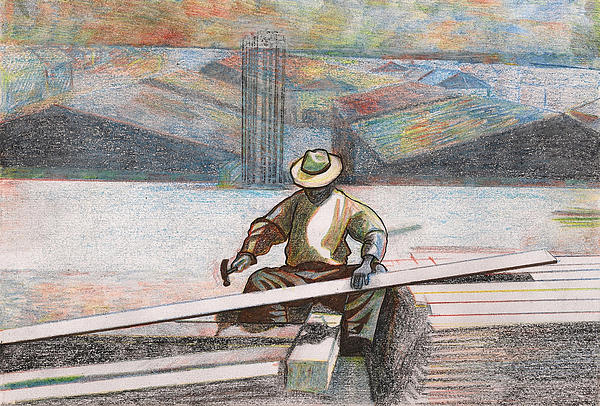 Old Man Painting - Experienced Craftsman by Al Goldfarb