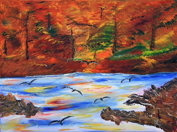 River Painting - Fall On The Bow River by James Bryron Love