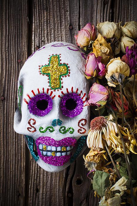 Fancy Photograph - Fancy Skull And Dead Flowers by Garry Gay