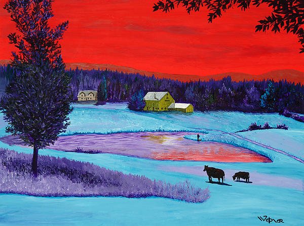 Landscape Painting - Farm Pond by Randall Weidner