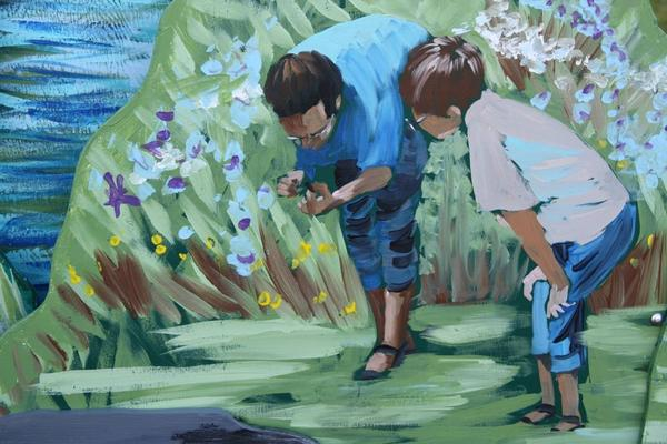 Mural Painting - Father And Son Detail Of Spring 1 by Jan Swaren