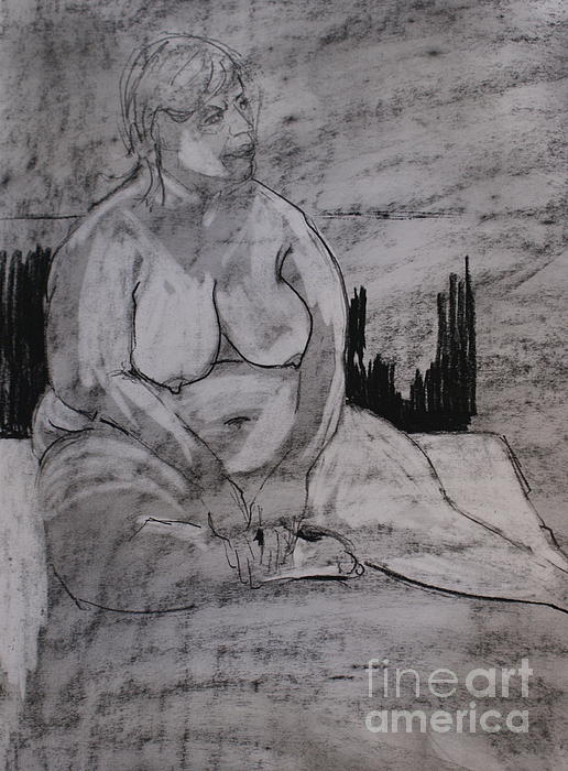 Nudes Drawing - Female Nude Seated by Joanne Claxton