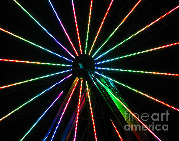 Neon Lights Photograph - Ferris Wheel by Peter Piatt